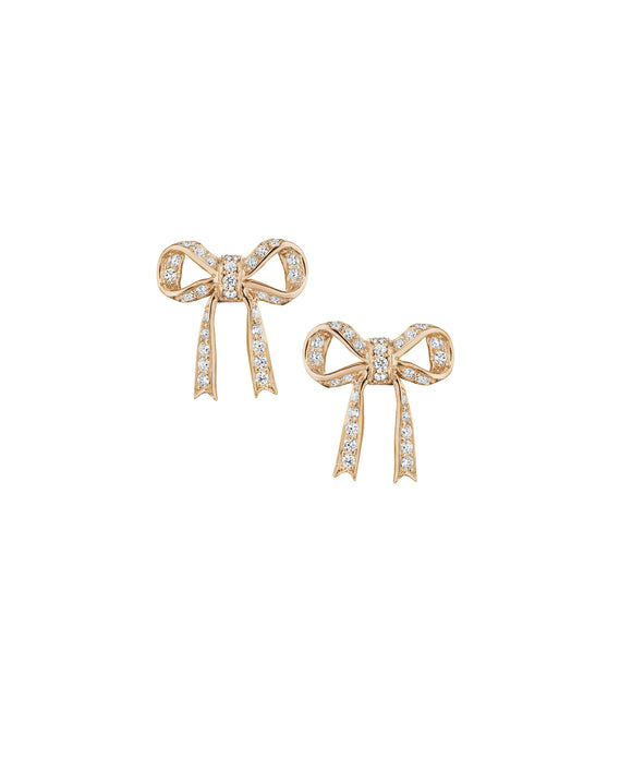Small rose gold bow studs