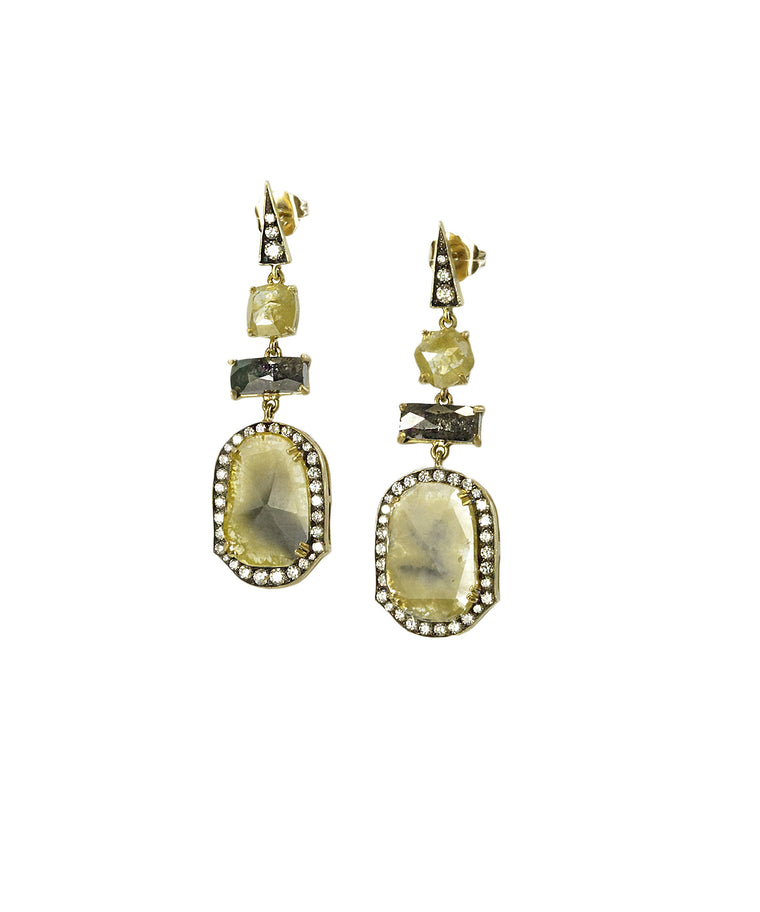 Greenish diamond slice earrings