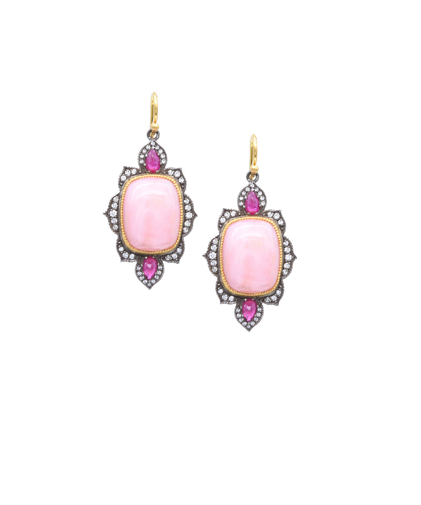 "So pretty! The gorgeous colors combine with the inspired design for a special look. The 22k gold and sterling silver drops are set with cabochon cushion-cut pink opals  totaling 20.50 carats. They are trimmed with rubies and diamonds. The earrings are 1 5/8"" long."