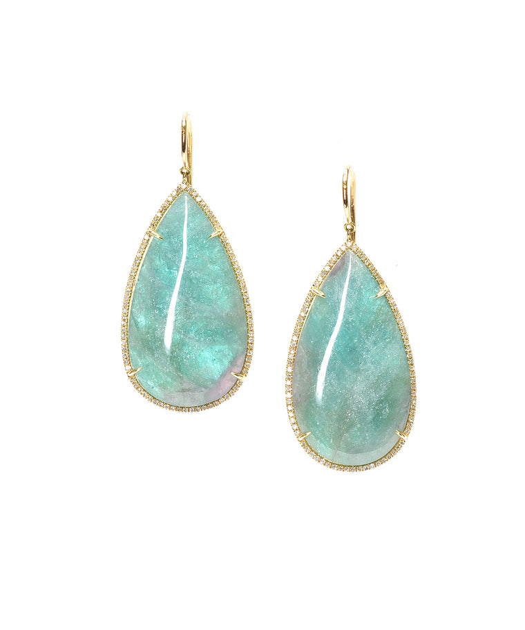 "The natural colors of Paraiba are entrancing. Set in 14k rose gold and set with diamonds totaling .67 carat, these drop earrings make a statement. They are about 2"" long from the top of the curved wire."