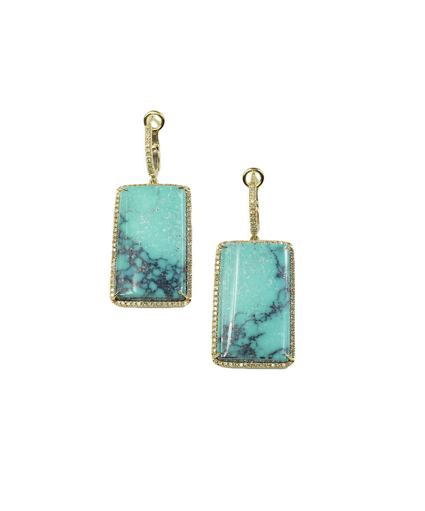 Turquoise and diamond drop earrings