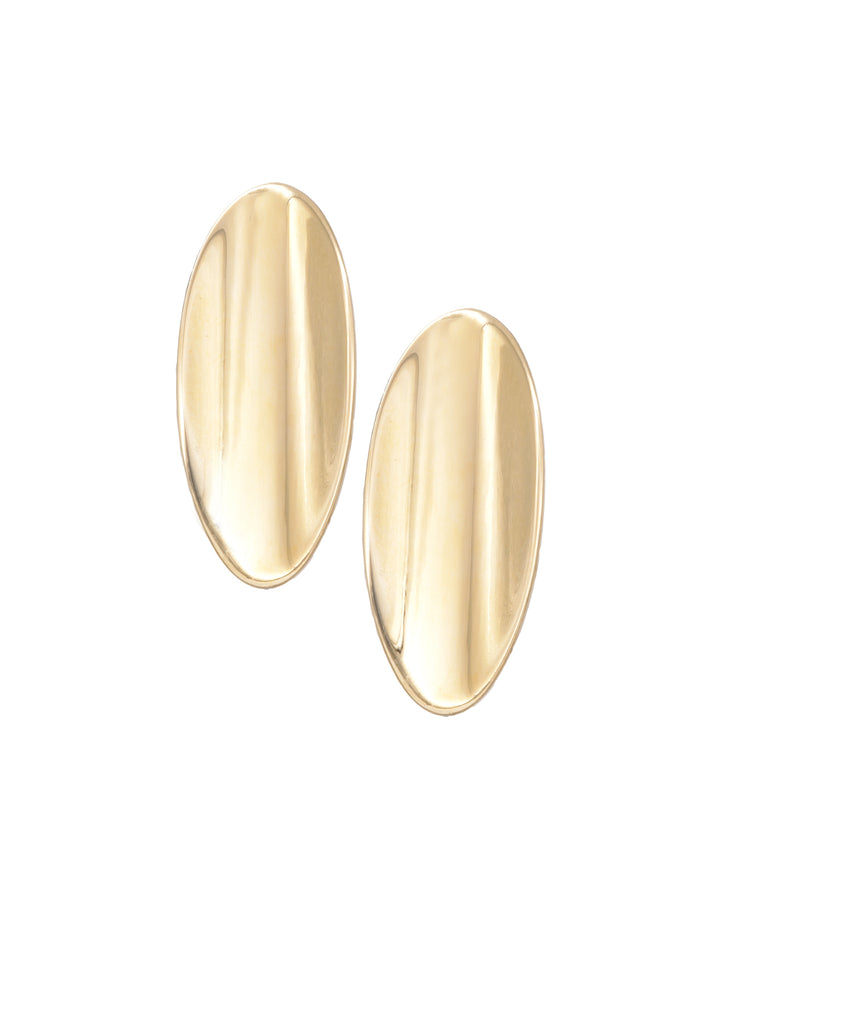 High-Polish Oval Shield Earrings - Lesley Ann Jewels