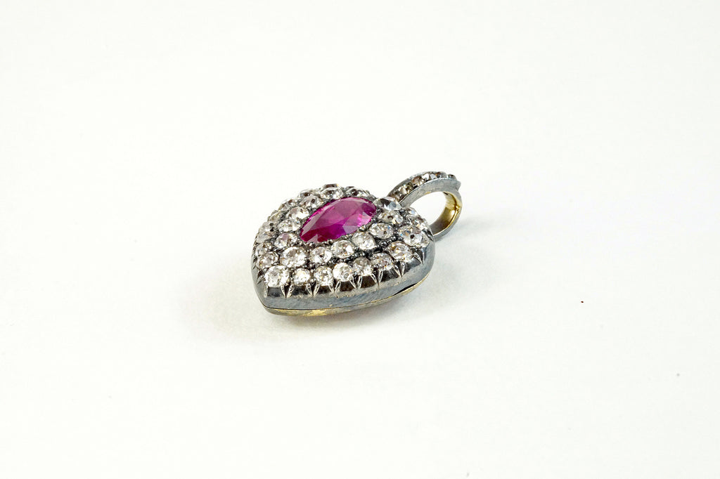 Victorian diamond heart locket with ruby