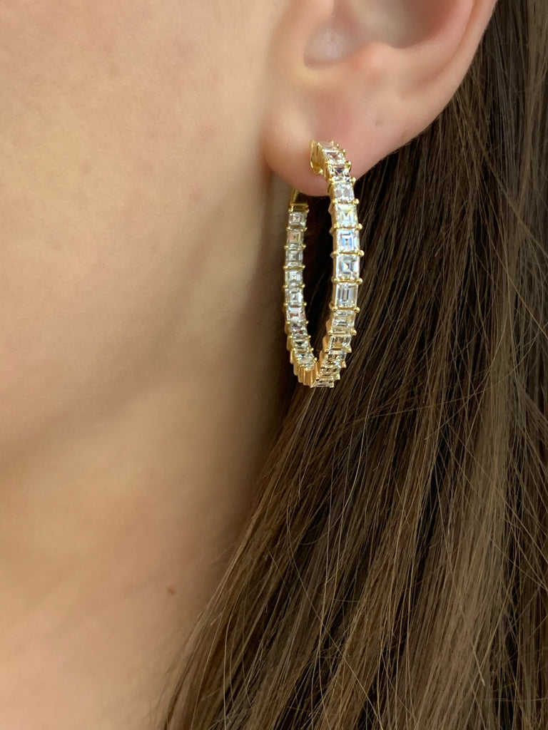Yellow Gold Hoops with Emerald Cut Diamonds - Lesley Ann Jewels
