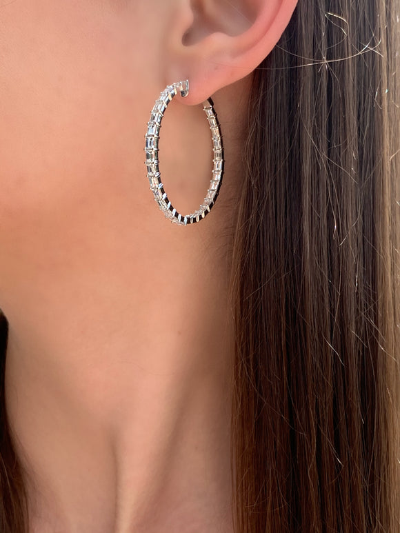 Large Hoops with Emerald Cut Diamonds - Lesley Ann Jewels