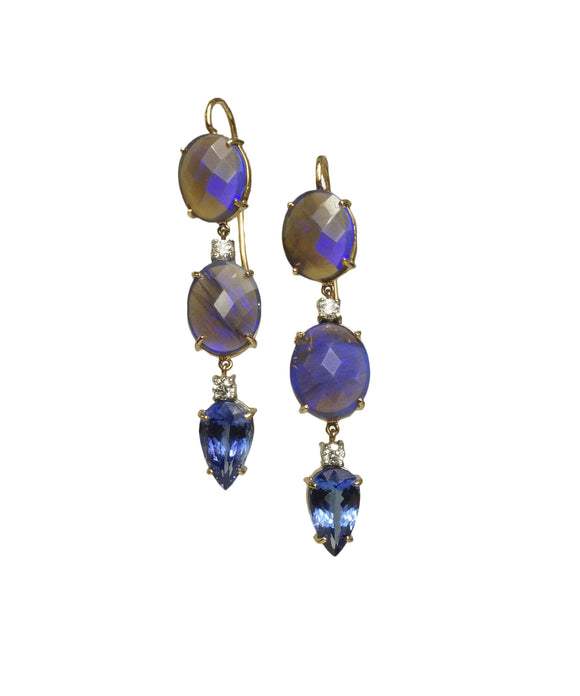 Opal and tanzanite earrings