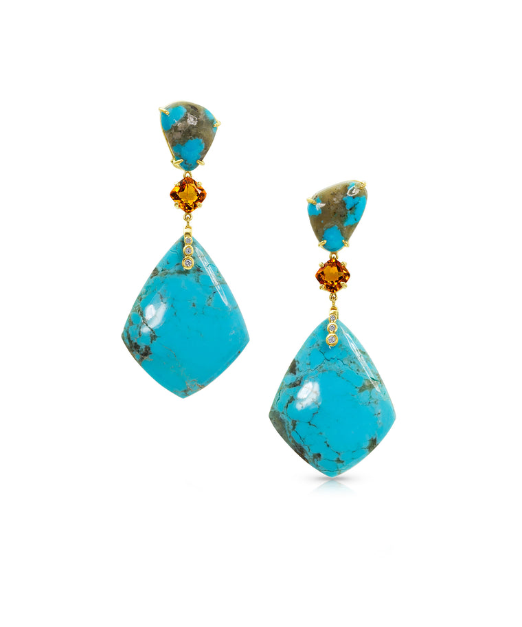 Turquoise kite earrings
