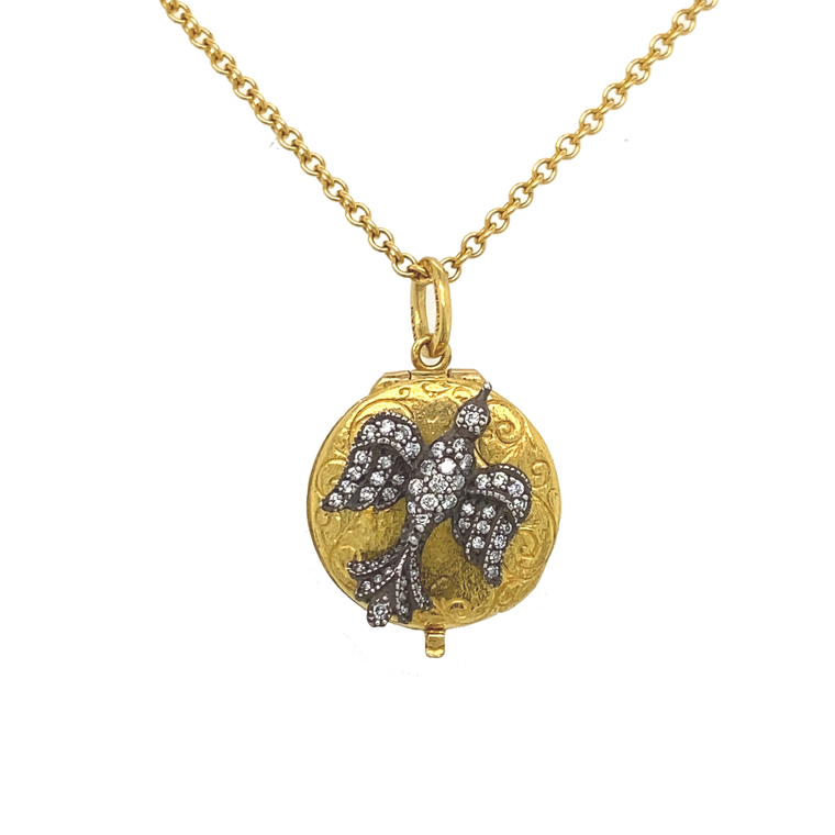Small Diamond Bird Locket Necklace - Lesley Ann Jewels
