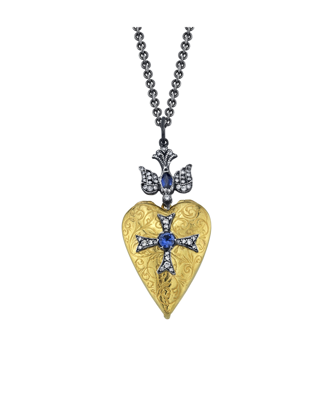 Heart locket with sapphire swallow