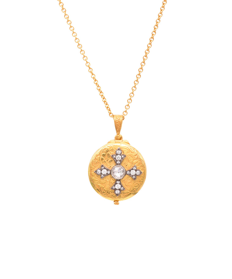 Diamond cross locket