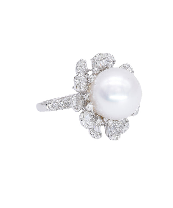 Pearl and Diamond Flower Ring