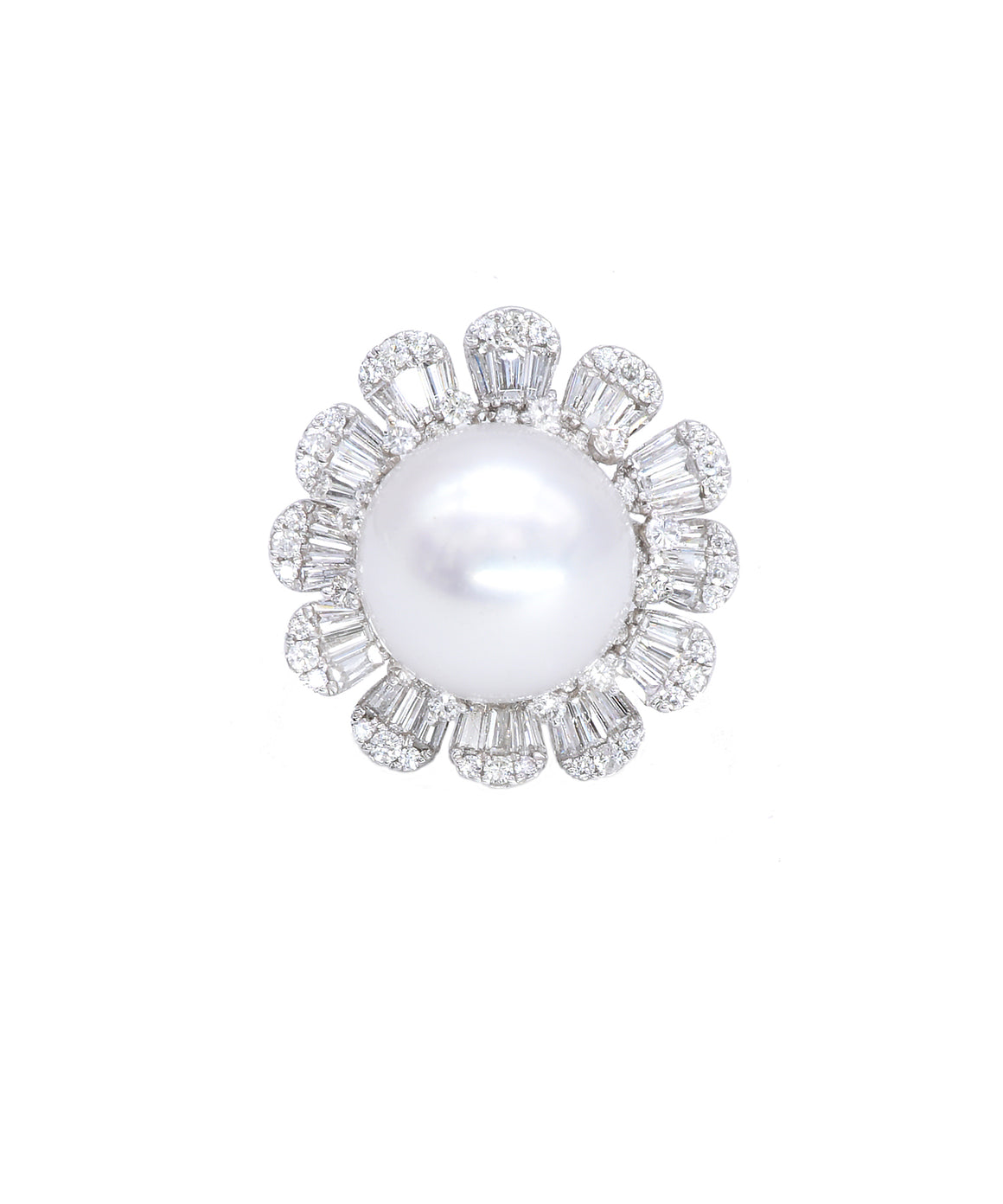 Pearl and Diamond Flower Ring - Lesley Ann Jewels