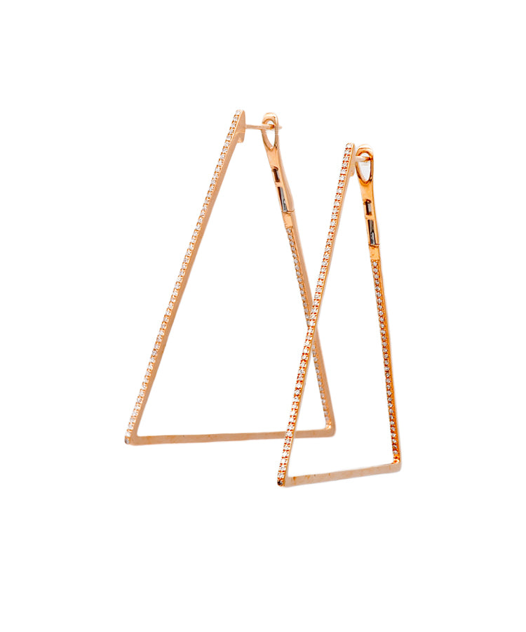 Rose gold triangle hoops - Lesley Ann Jewels