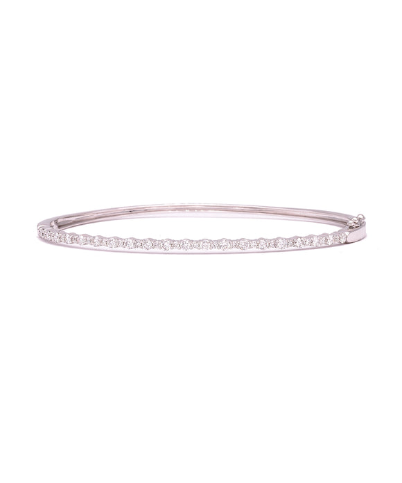 White gold diamond bangle bracelet - Lesley Ann Jewels