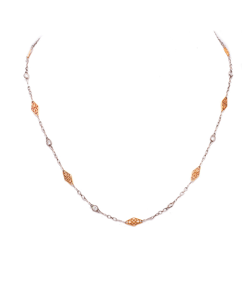 Platinum and Rose Gold Chain - Lesley Ann Jewels