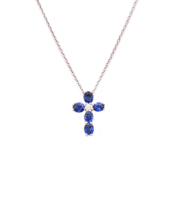 Sapphire and diamond cross - Lesley Ann Jewels