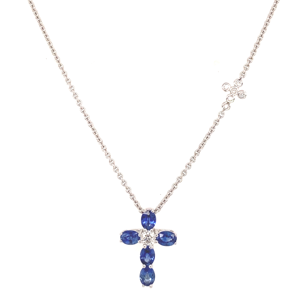 Blue Sapphire Cross Necklace with Cross Station - Lesley Ann Jewels