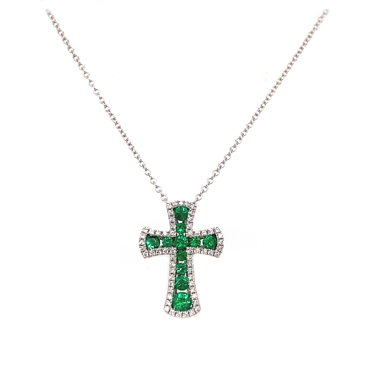 Emerald Cross Necklace - Lesley Ann Jewels