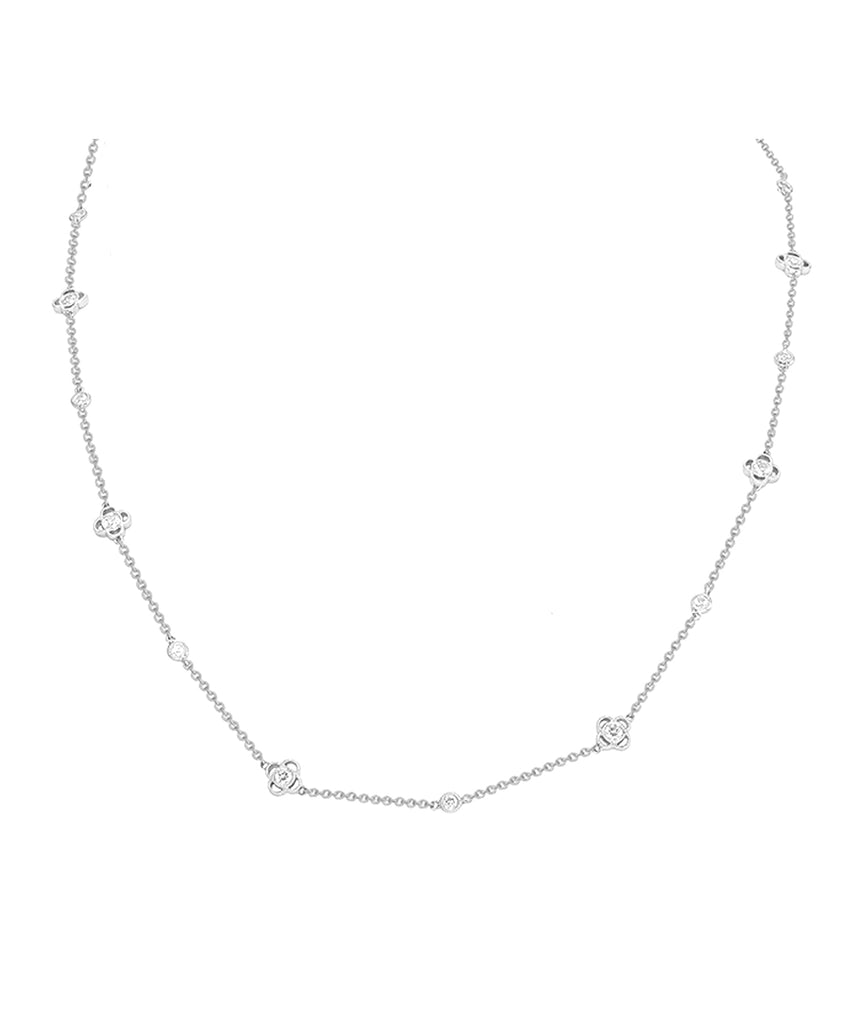 White Gold Flower Necklace - Lesley Ann Jewels