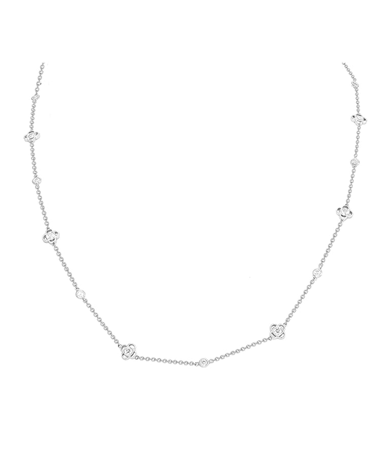 White Gold Flower Necklace