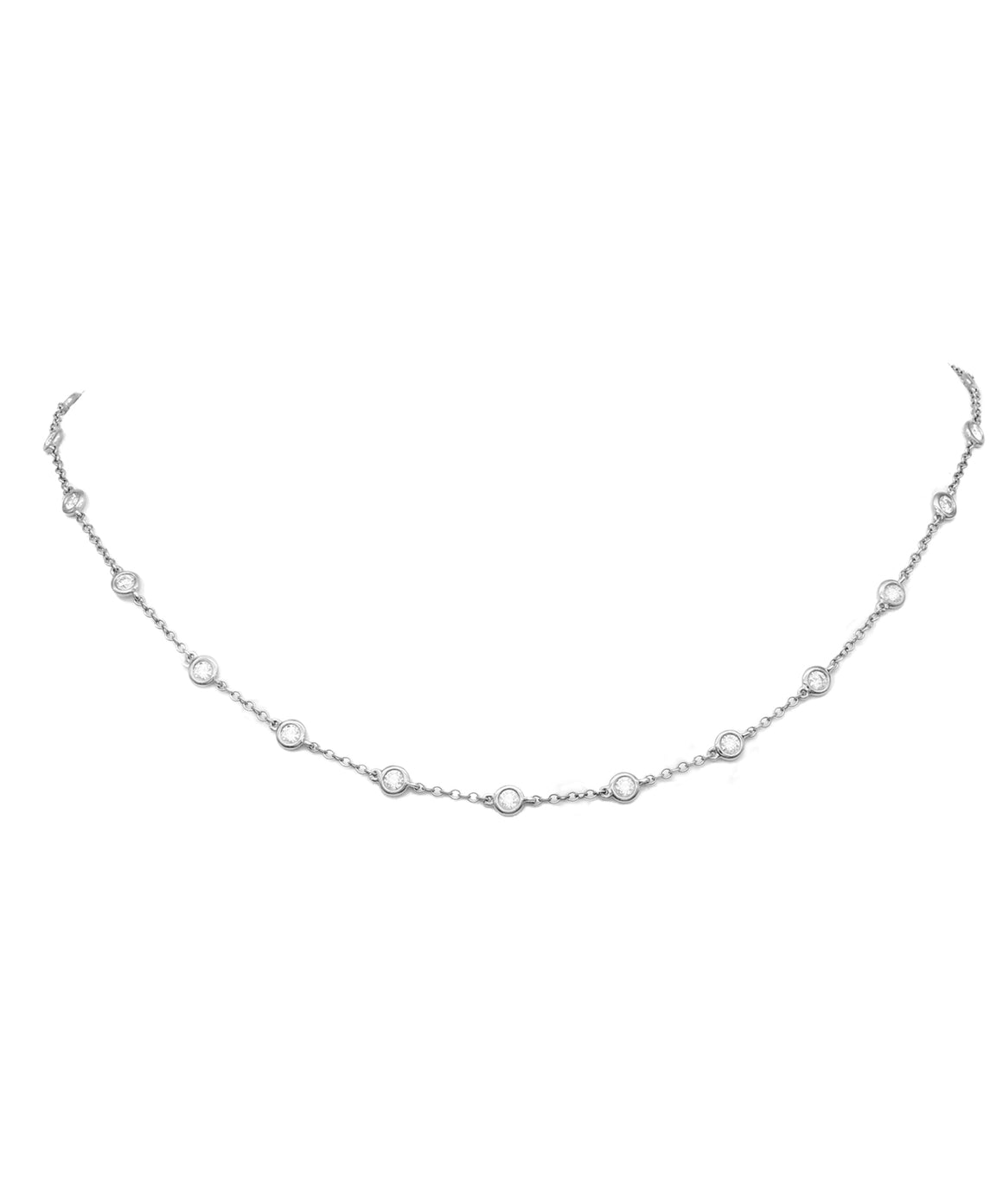 White Gold Diamonds by the Yard Necklace