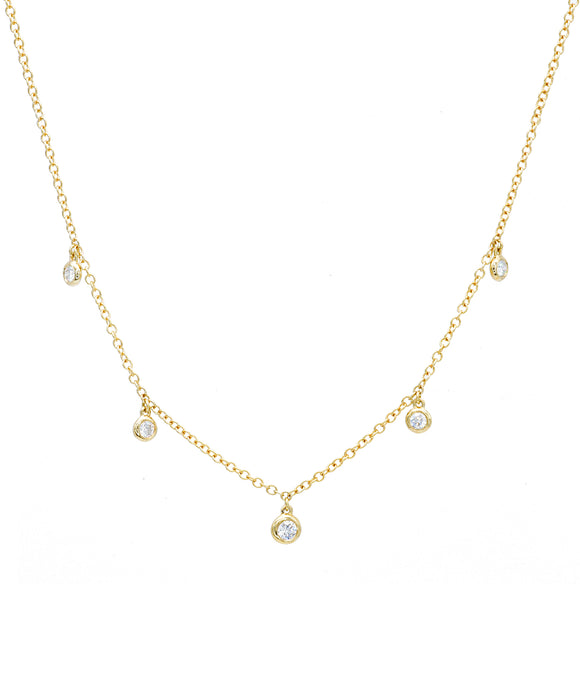 Bezel Drop Diamond Necklace