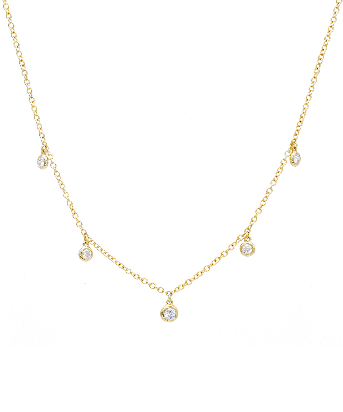 Bezel Drop Diamond Necklace - Lesley Ann Jewels