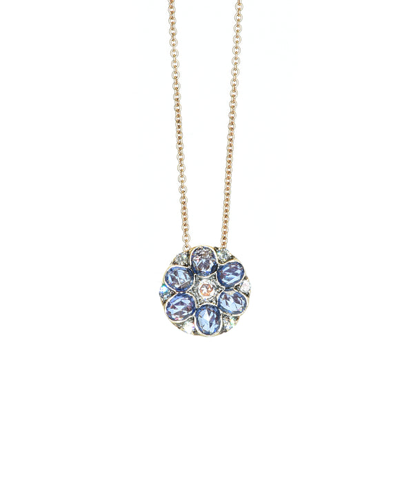 Sapphire and diamond flower pendant - Lesley Ann Jewels