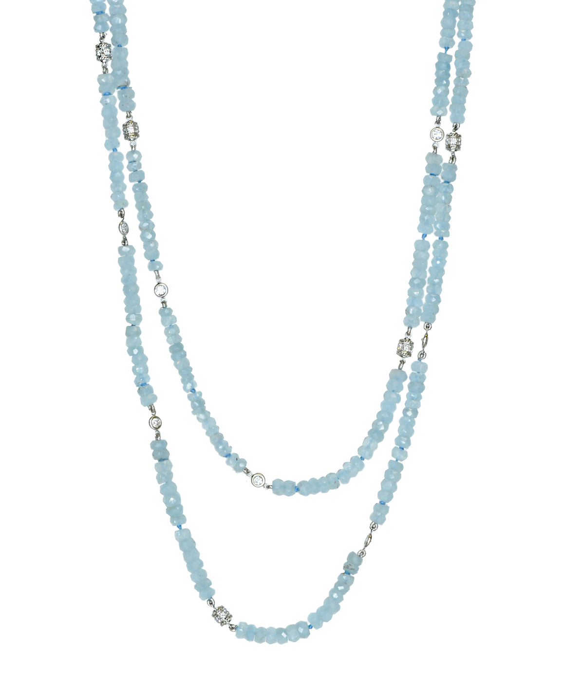 Aquamarine necklace with diamond stations