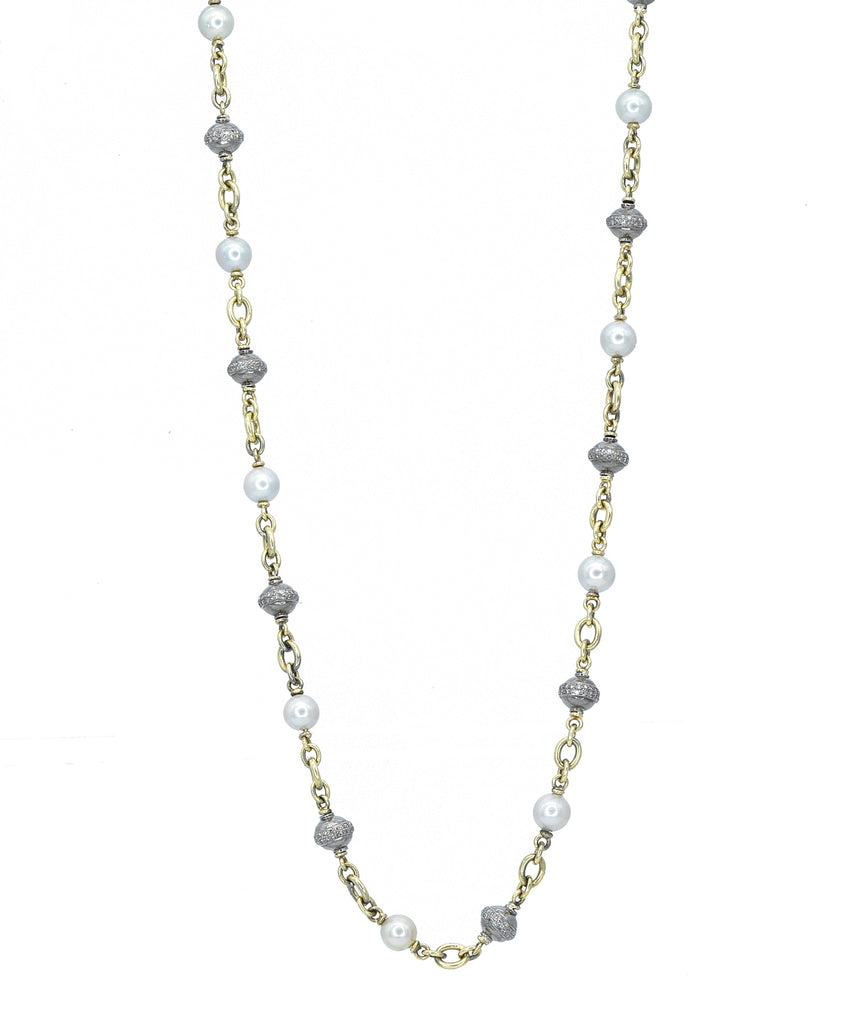 Pearl and diamond bead necklace