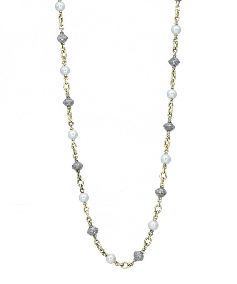 Pearl and diamond bead necklace - Lesley Ann Jewels