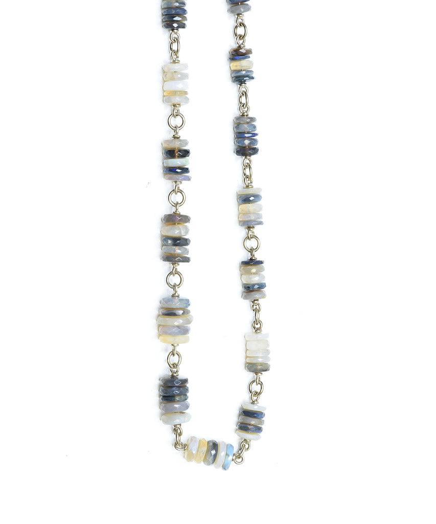 Faceted opal bead necklace