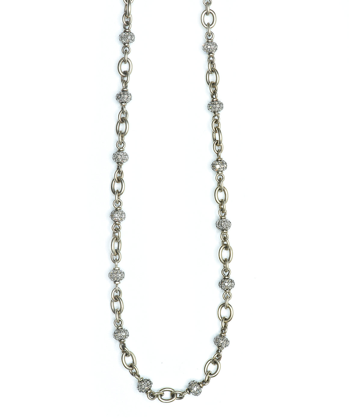 Diamond ball chain in white gold