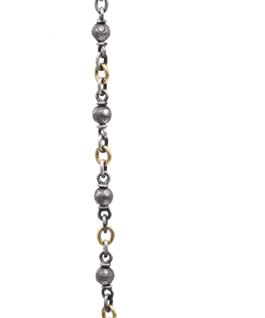 Two Tone Chain with Diamond Beads - Lesley Ann Jewels
