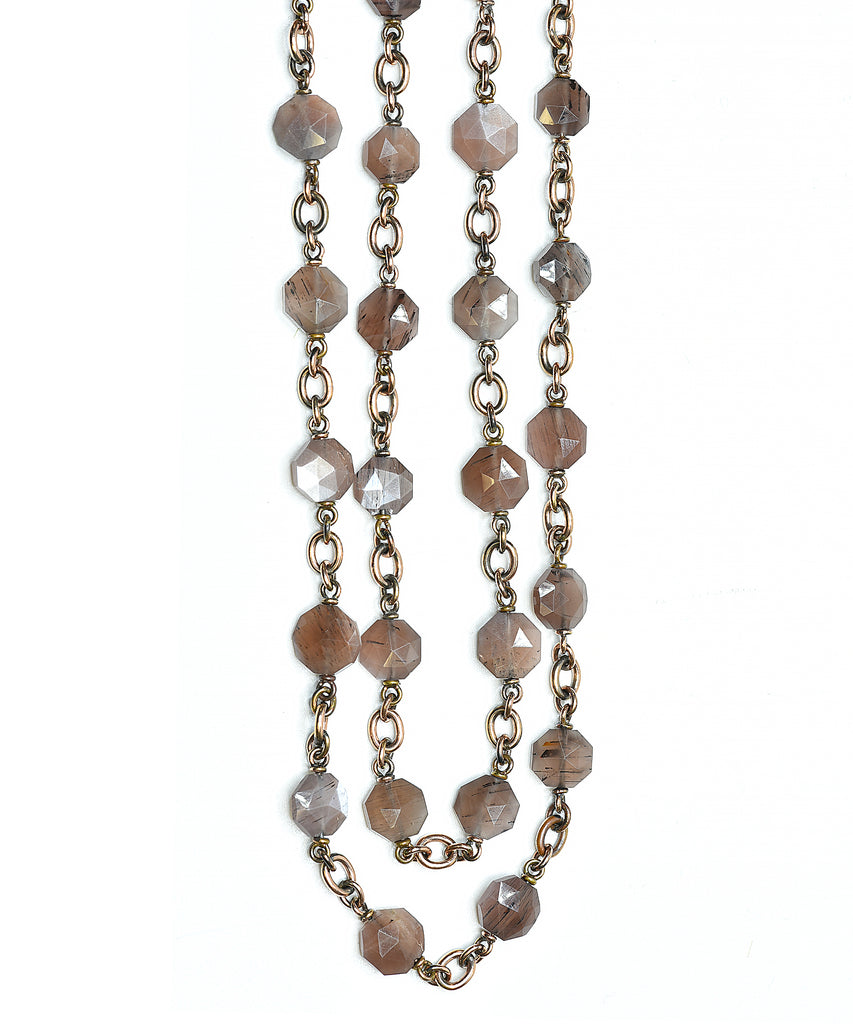 Faceted Madagascar moonstone necklace