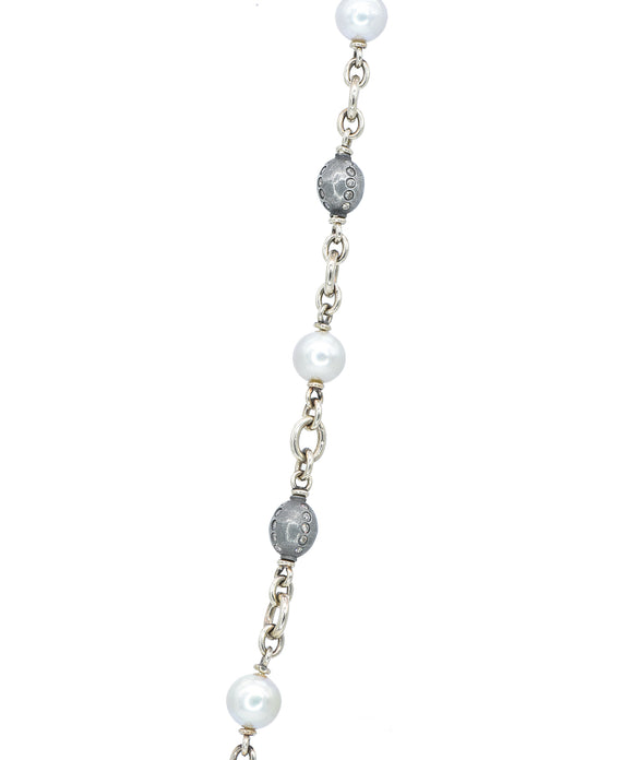 Pearl and Diamond Ball Chain - Lesley Ann Jewels
