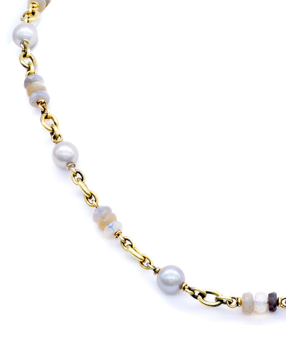 Pearl and Opal Chain Necklace - Lesley Ann Jewels