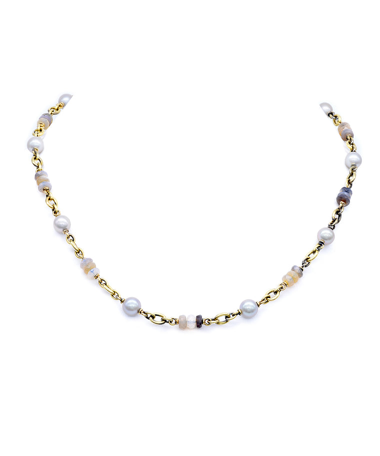 Pearl and opal chain necklace