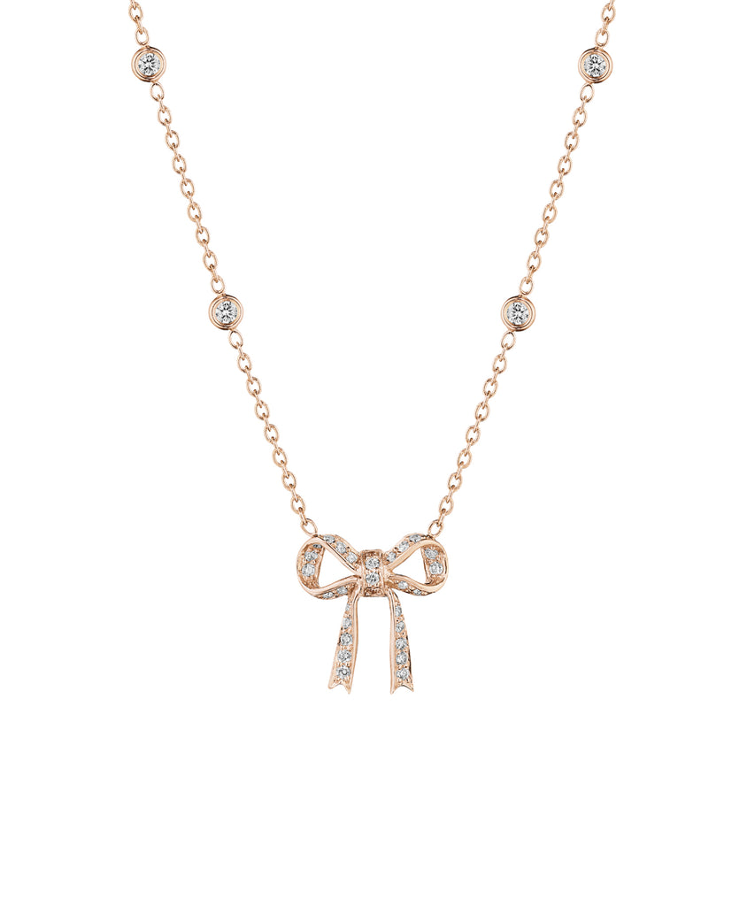 Small bow pendant in rose gold - Lesley Ann Jewels