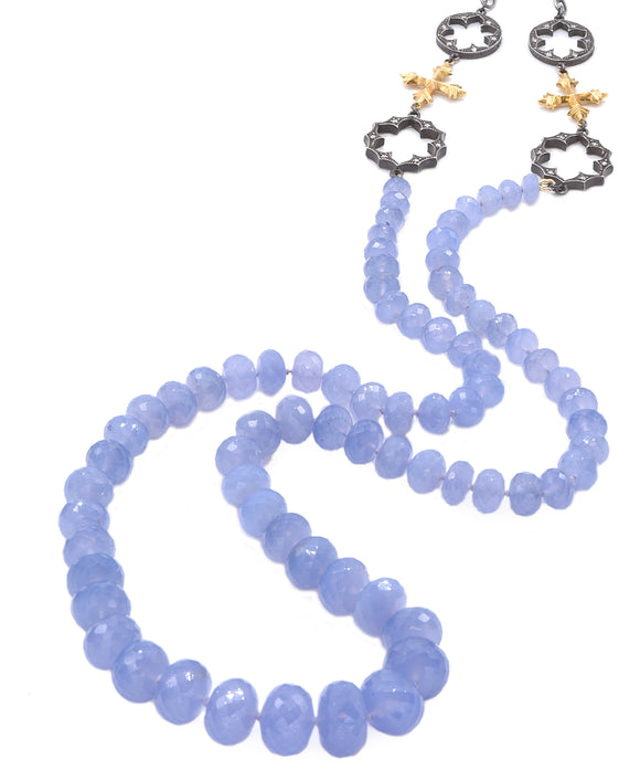 Long Chalcedony Bead Necklace with Cross Stations