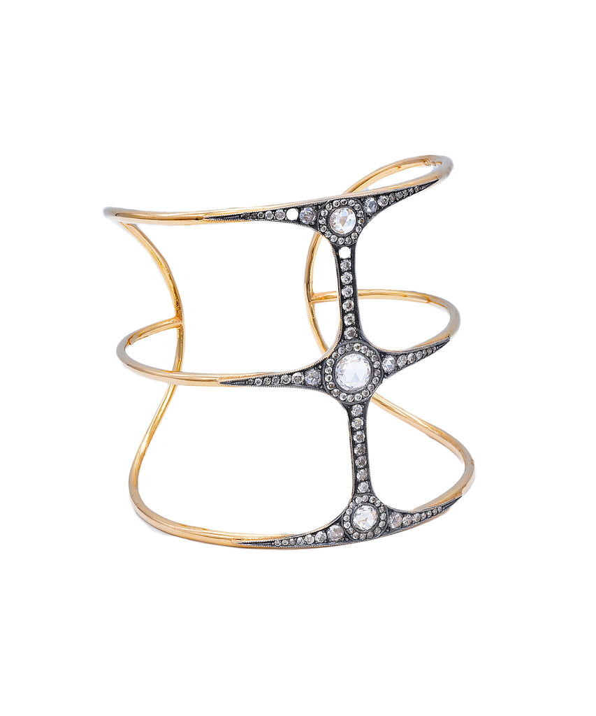 Cage cuff with rose cut diamonds