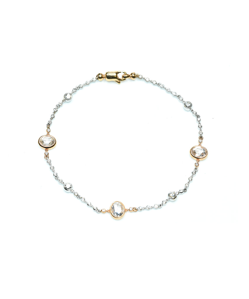 Bracelet with rose-cut diamonds