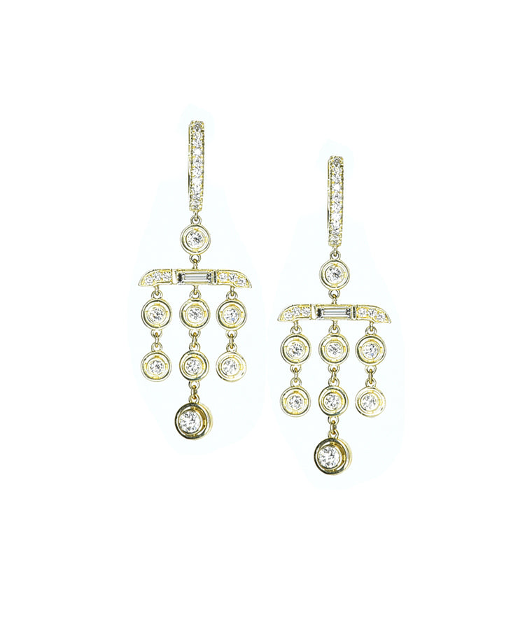 Drop earrings with baguettes - Lesley Ann Jewels
