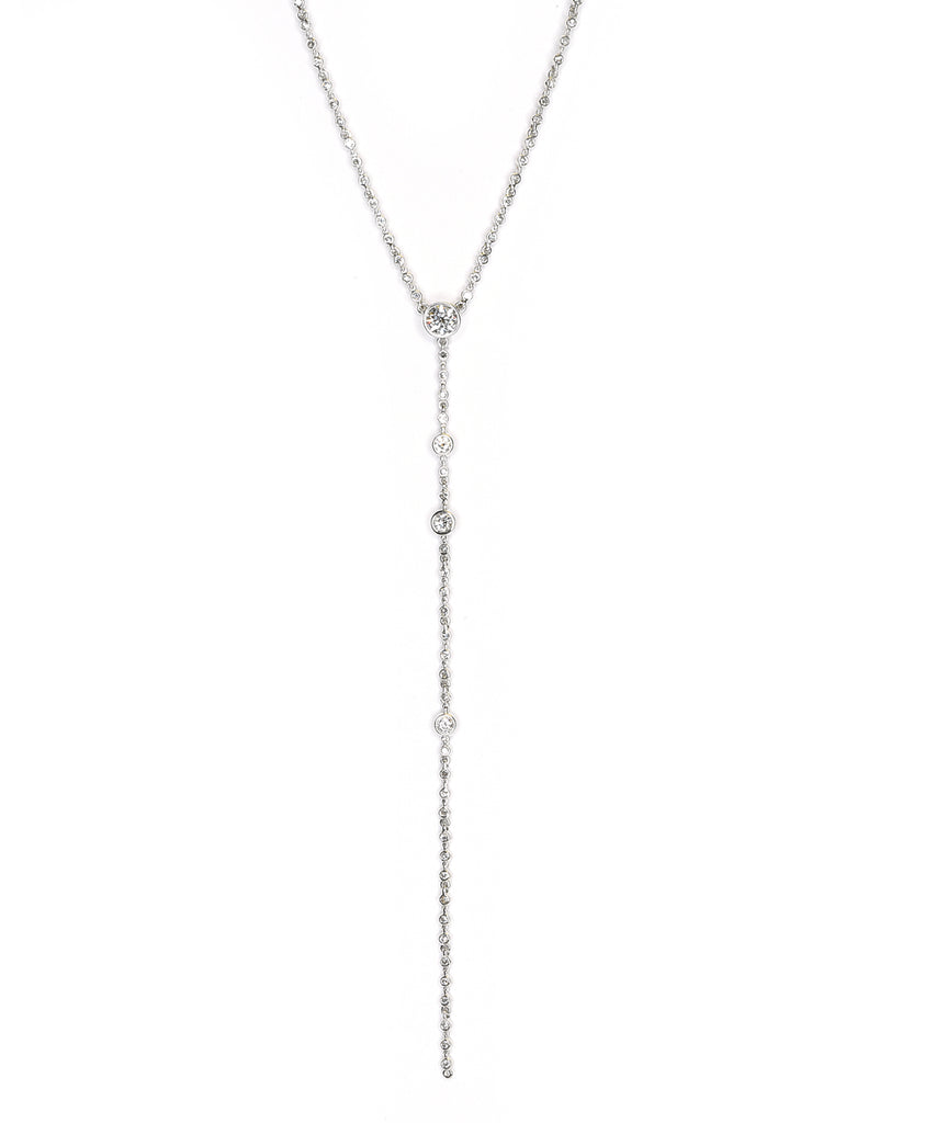 White gold lariat necklace
