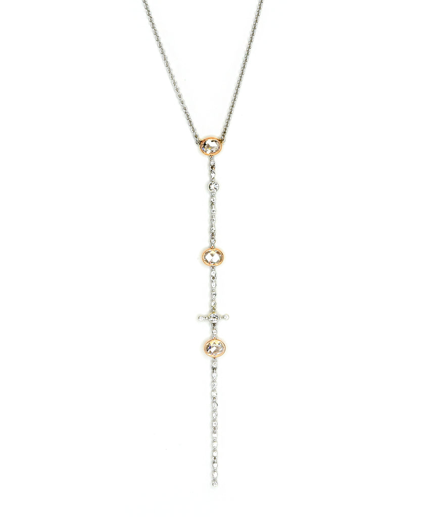 White and rose gold diamond lariat necklace