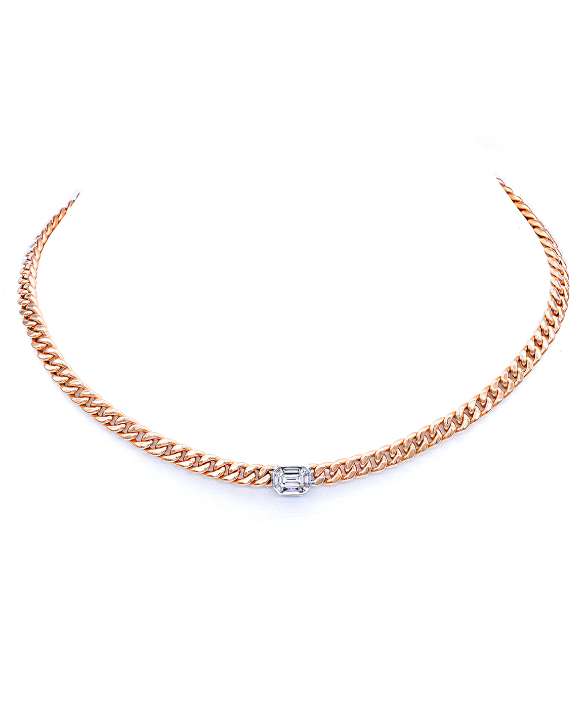 Rose gold necklace with diamond center