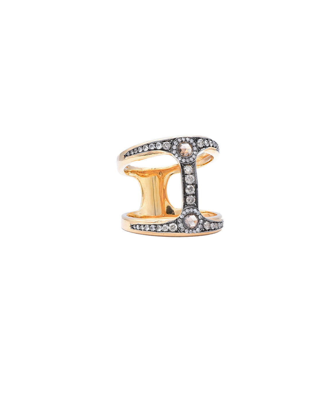 Cage ring with cognac diamonds