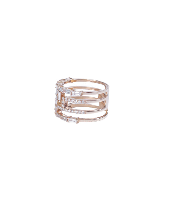 Wide baguette diamond band