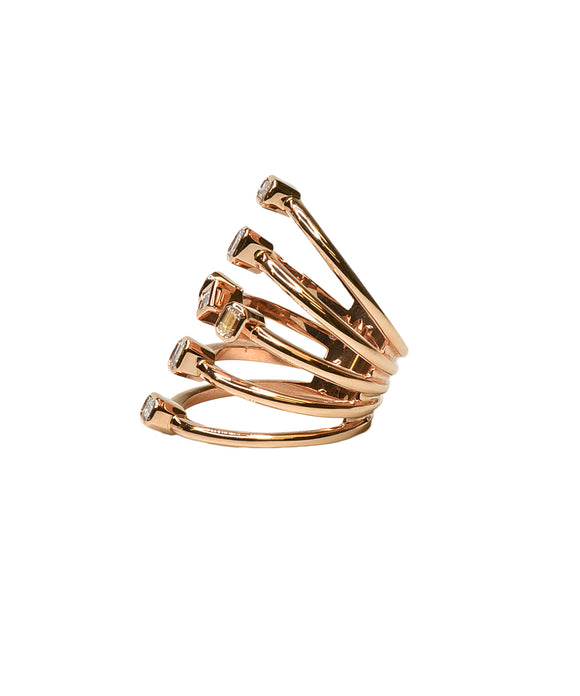 Wide rose gold baguette ring