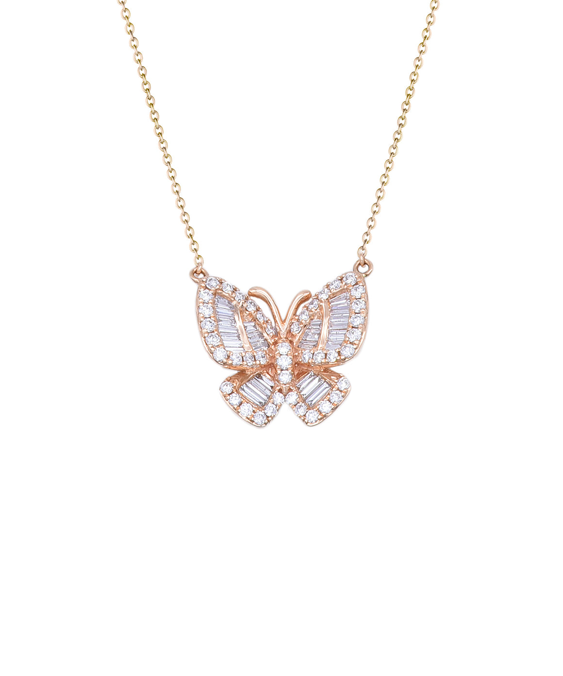 "The lovely butterfly is set with baguette and round diamonds totaling .85 carat. 18k rose gold adds a warm glow. The wingspan is 3/4"". The pendant hangs from and 18"" adjustable chain."